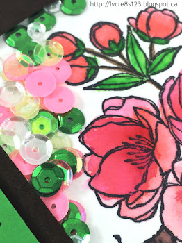 Linda Vich Creates: Beautiful blossom-filled shaker card in shades of Watermelon Wonder and Cucumber Crush, colored with Zig Clean Color Brush Markers and filled with sparkly sequins.