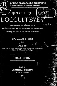 Cover of Papus's Book Qu'est ce Que L'Occultisme (1901,in French)