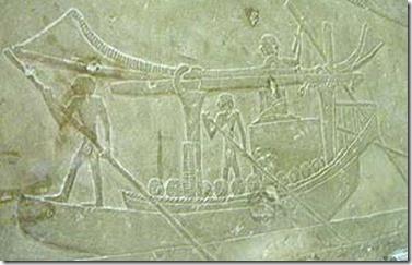 Transporte fluvial de sillares de piedra caliza. Relieve sobre piedra. VI dinastía. Hallado en la tumba de Ipi, Sakkara .Museo del Cairo.