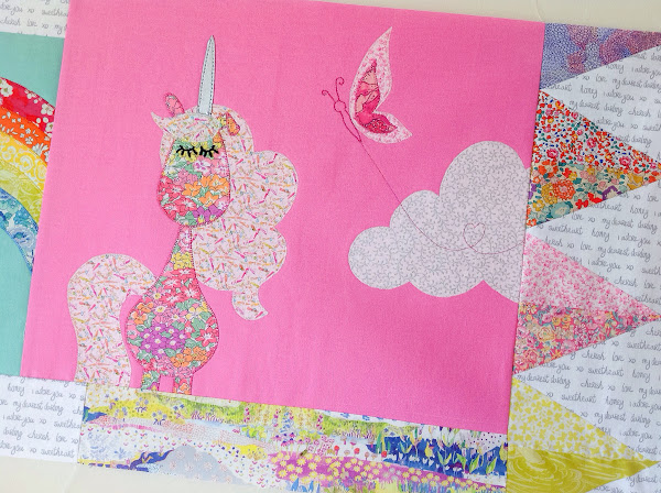 Liberty Unicorn and butterfly quilt block