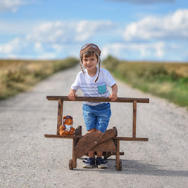 Aviator by Piotr Owczarzak - Babies & Children Children Candids ( countryside, polska, padniewko, airplane, mogilno, summer, fun, kids, boy, poland,  )