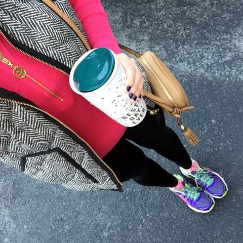 cute workout clothes, herringbone vest, asics