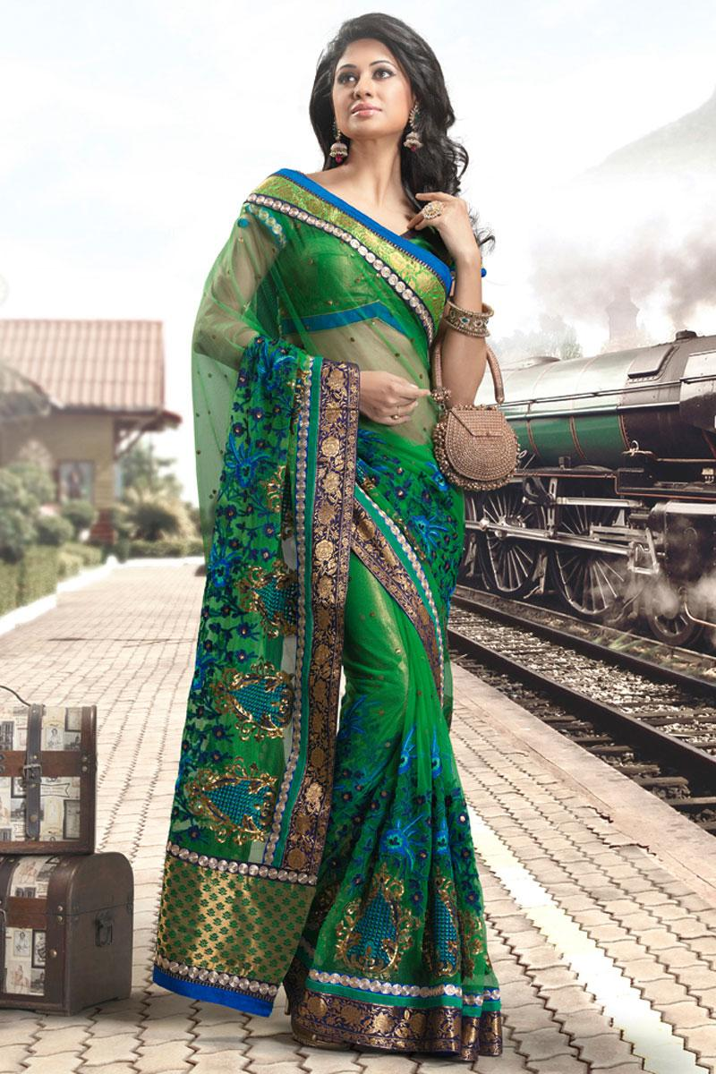 Green Wedding and Festival Net Embroidered Saree   163.00