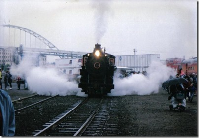 Sumpter Valley Railway 2-8-2 #19 running at Union Station in Portland, Oregon on May 11, 1996