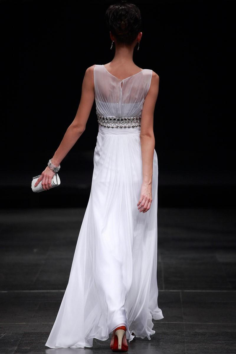 white straight wedding gown