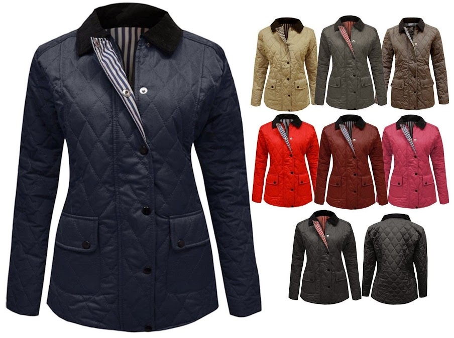 WOMENS PADDED DIAMOND QUILTED ZIP BUTTON JACKET LADIES COAT TOP PLUS SIZES 16-20