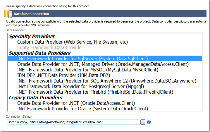 Database connection configuration in Code On Time application generator.