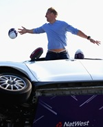 WELLINGBOROUGH, ENGLAND - OCTOBER 12:  Ex-England rugby player Lewis Moody in action during a NatWest Rugby World Cup stunt  Fastest Interception at Santa Pod Raceway on October 12, 2015 in Wellingborough, England.  (Photo by Matthew Lewis/Getty Images)