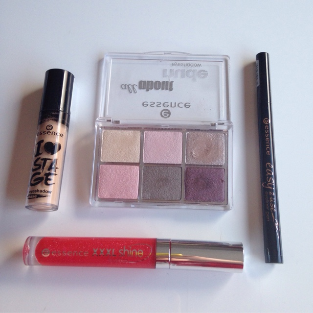 a mix of products from essence include eye primer, shadow, lipgloss and liner
