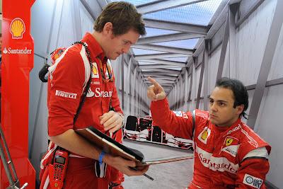 Фелипе Масса тычет пальцем в Роба Смедли в гараже Ferrari на Гран-при Бельгии 2011 в Спа