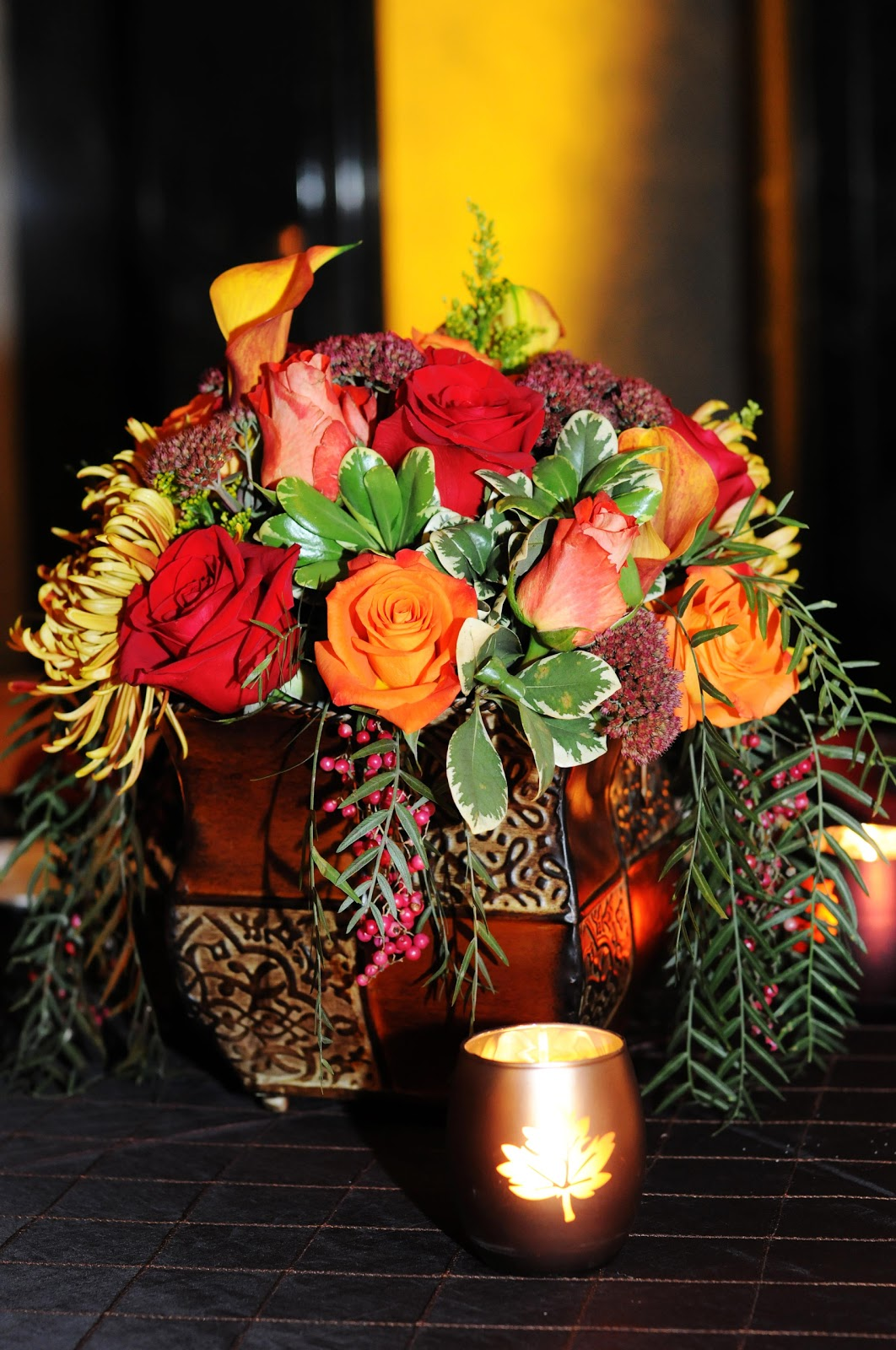 Fall centerpiece with roses