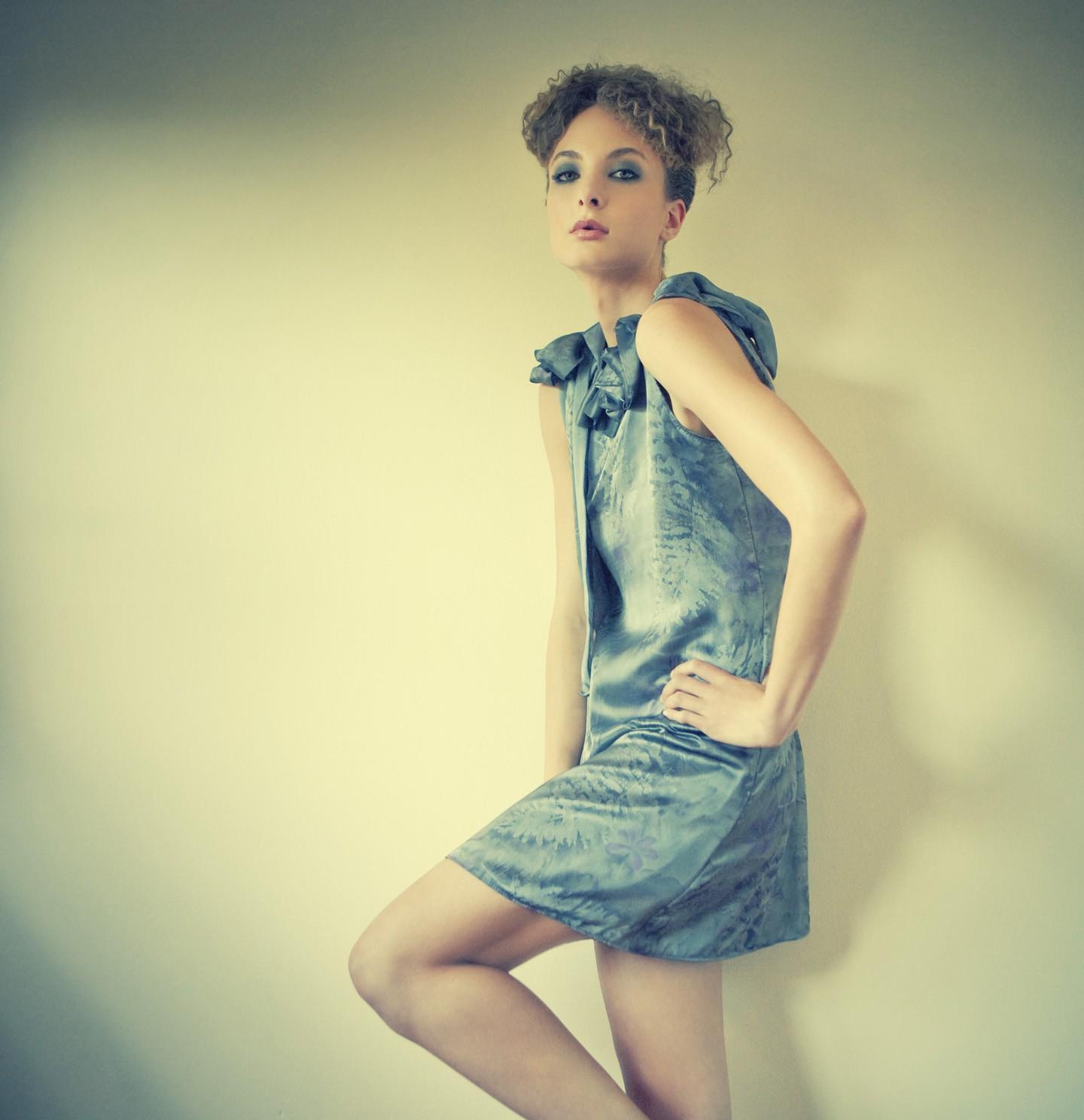 Metallic Forest Backless Chiffon Dress with ruffled neckline S, M,