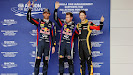 Mark Webber (AUS/ Red Bull Racing), Sebastian Vettel (GER/ Red Bull Racing) und Romain Grosjean (FRA/ Lotus)