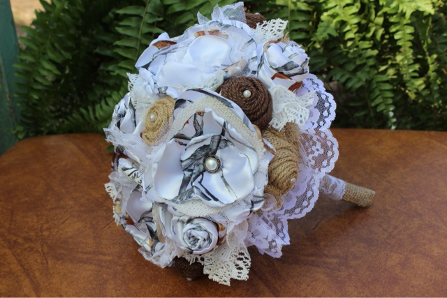 Camo, rustic wedding bouquet