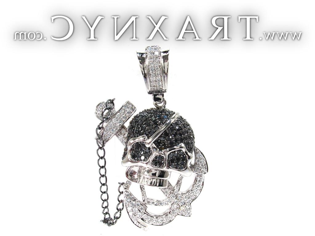 Full Size Picture for Pirate Skull Silver CZ Pendant