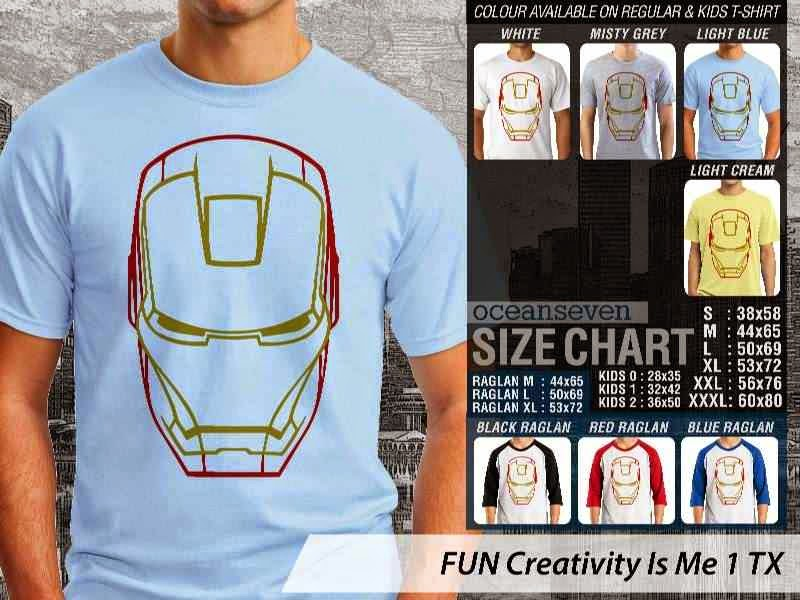 Jual Kaos Iron Man Lucu FUN Creativity Is Me 1 distro ocean seven