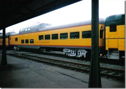 Union Pacific Dome Lounge Observation #9009 City of Los Angeles at Union Station in Portland, Oregon on September 26, 1995
