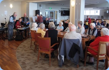 Some views of the Northbridge Village lounge and residents enjoying the music.