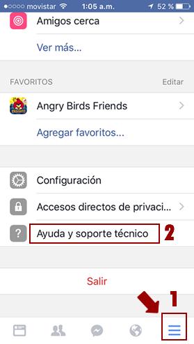 Ayuda y soporte técnico de Facebook en el móvil