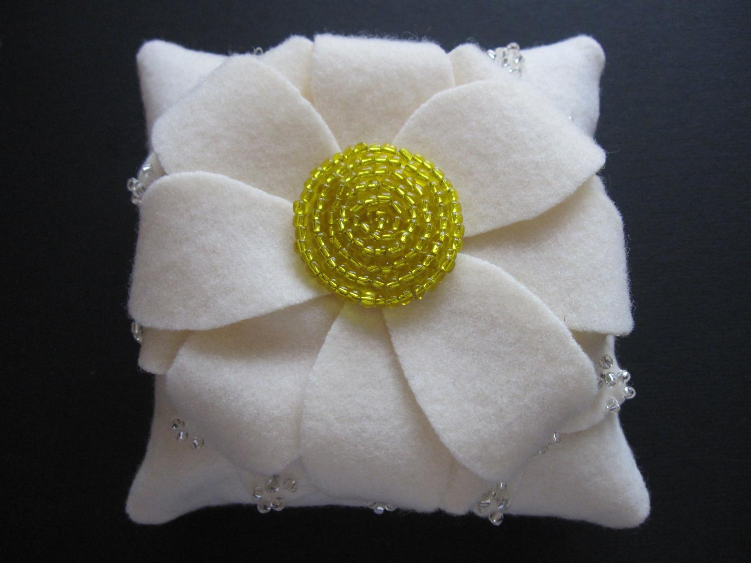 Ring Bearer Pillow Wedding Dahlia Flower Ivory Yellow