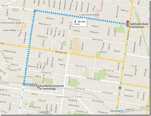 Map showing route from motel to campus