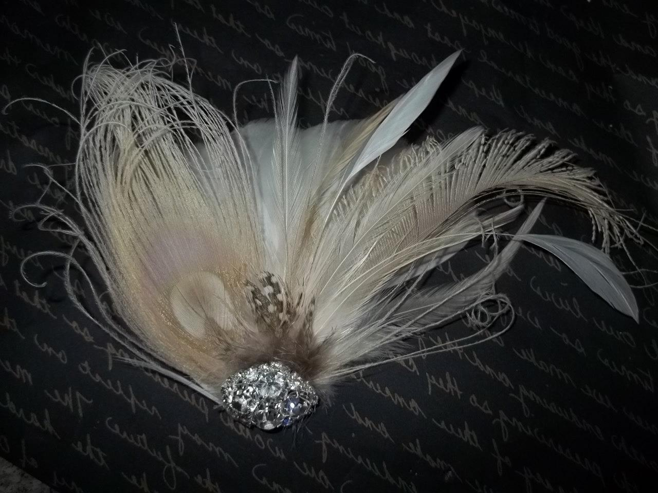 Ivory Peacock Bridal Hair