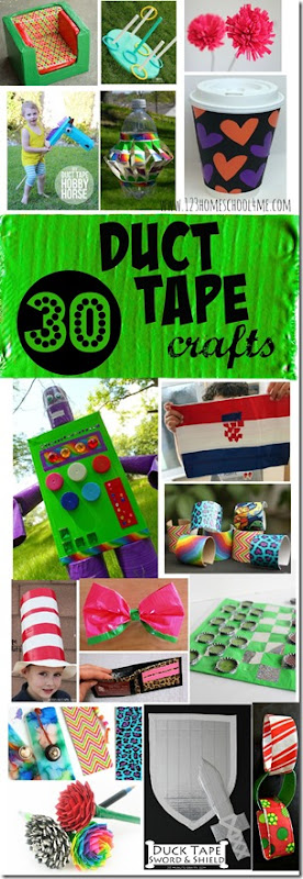 30 Duct Tape Crafts - so many fun, creative and interesting crafts for kids using duct tapes!