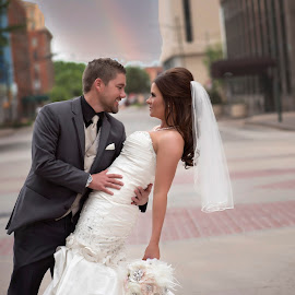 At the end of the rainbow by Carole Brown - Wedding Bride & Groom ( street scene, dipping, bride, rainbow, groom )
