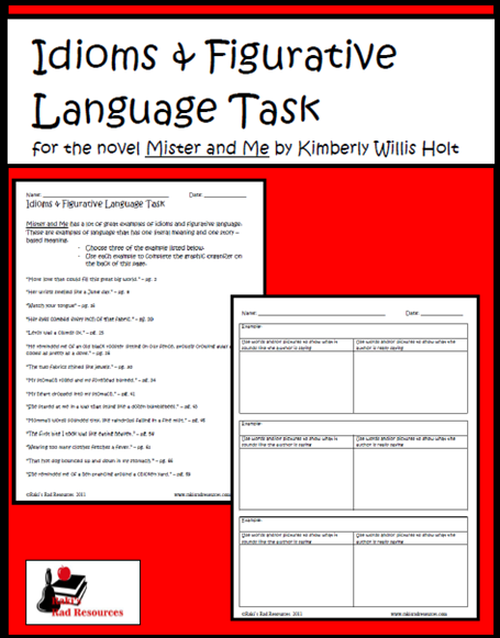 Mister and Me Figurative Language Task - free download from Raki's Rad Resources
