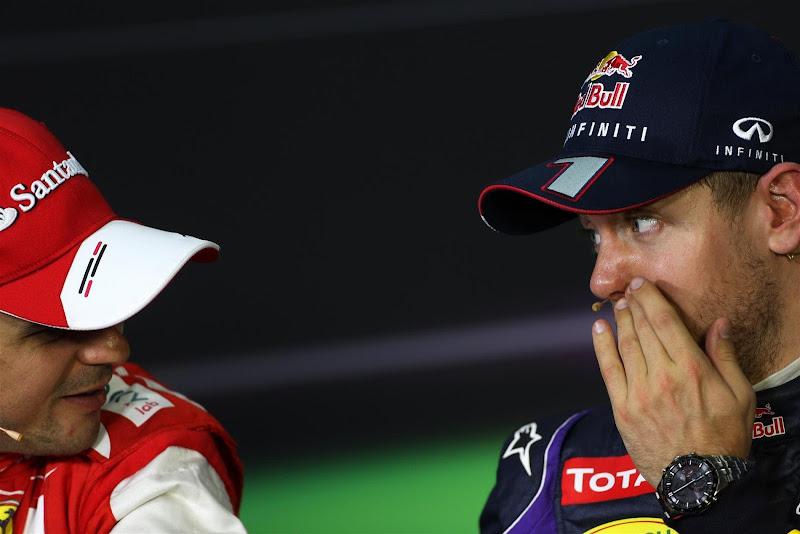 Фелипе Масса и Себастьян Феттель на пресс-конференции после квалификации на Гран-при Малайзии 2013