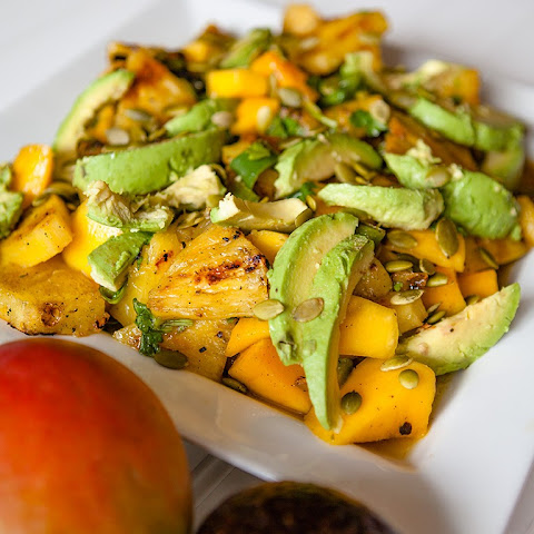 Grilled Pineapple and Jalapeños with Fresh Mango and Avocado