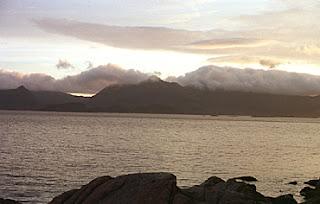 Midnight Sun near Henningsvær, Lofoten Islands, Norway.