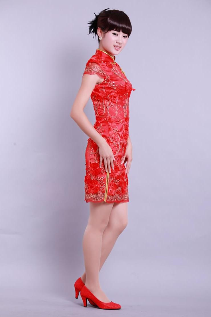 Chinese wedding chongsam lace