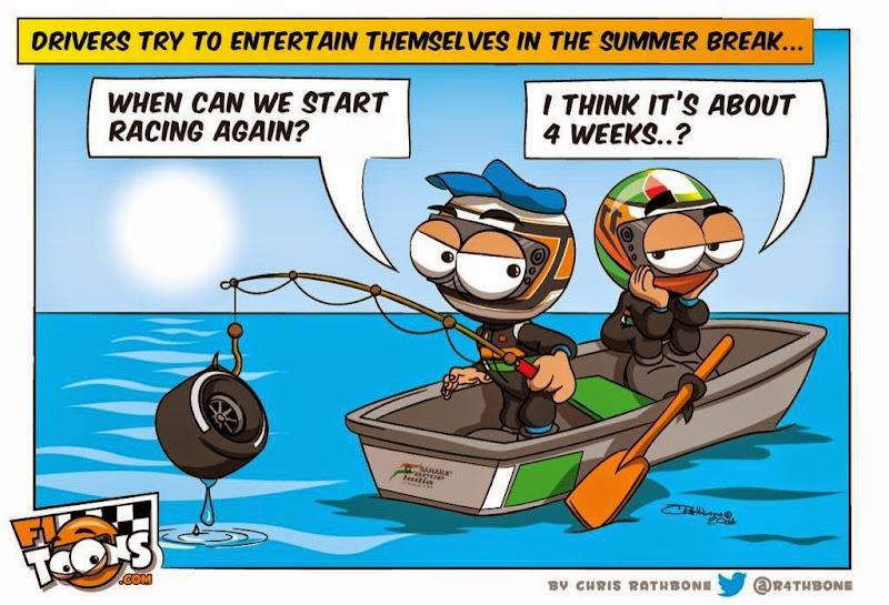 Серхио Перес и Нико Хюлькенберг скучают на лодке - комикс Chris Rathbone