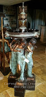 Bronze Fountain, Four Women Musicians with Lions Heads.  H71""