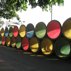 Pipe Art by Shishir Desai - City,  Street & Park  Street Scenes ( pwc79, dranage pipe, circle, color, colors, landscape, portrait, object, filter forge )