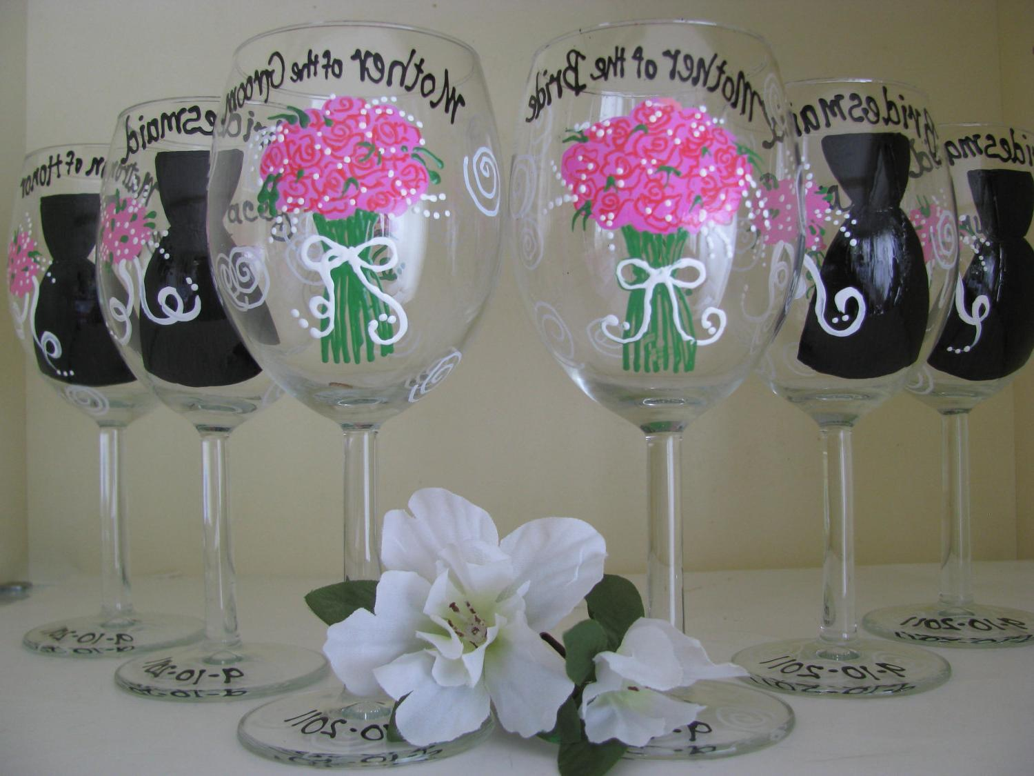 Pin wedding bridal wine glasses personalized hand painted from cake on