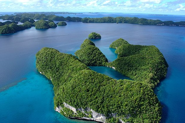 Aerial view of limestone islands, Palau