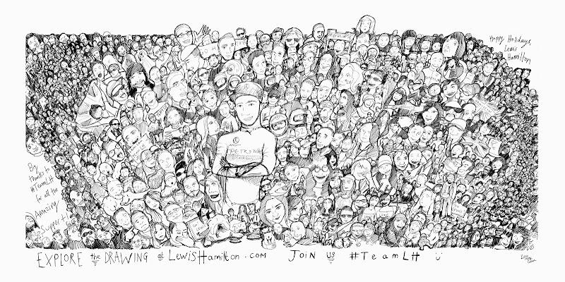 Льюис Хэмилтон и его болельщики - иллюстрация Lizzie Mary Cullen