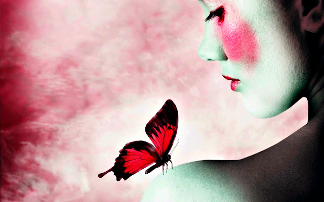Beautiful Woman and Delicate Blue Butterfly
