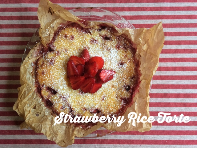 Strawberry Rice Torte, or rice pie with strawberries.