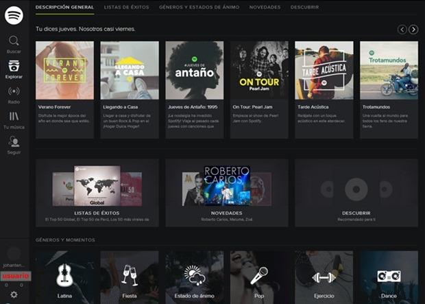 Página principal de Spotify web