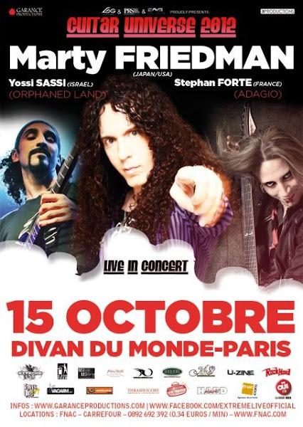 Marty Friedman / Yossi Sassi / Stéphan Forté @ Divan du Monde, Paris 15/10/2012