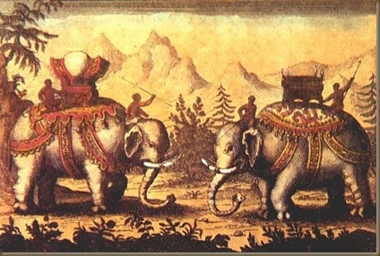 Southeast Asian war elephants with back-mounted mahouts; the ride at the neck is a fighter