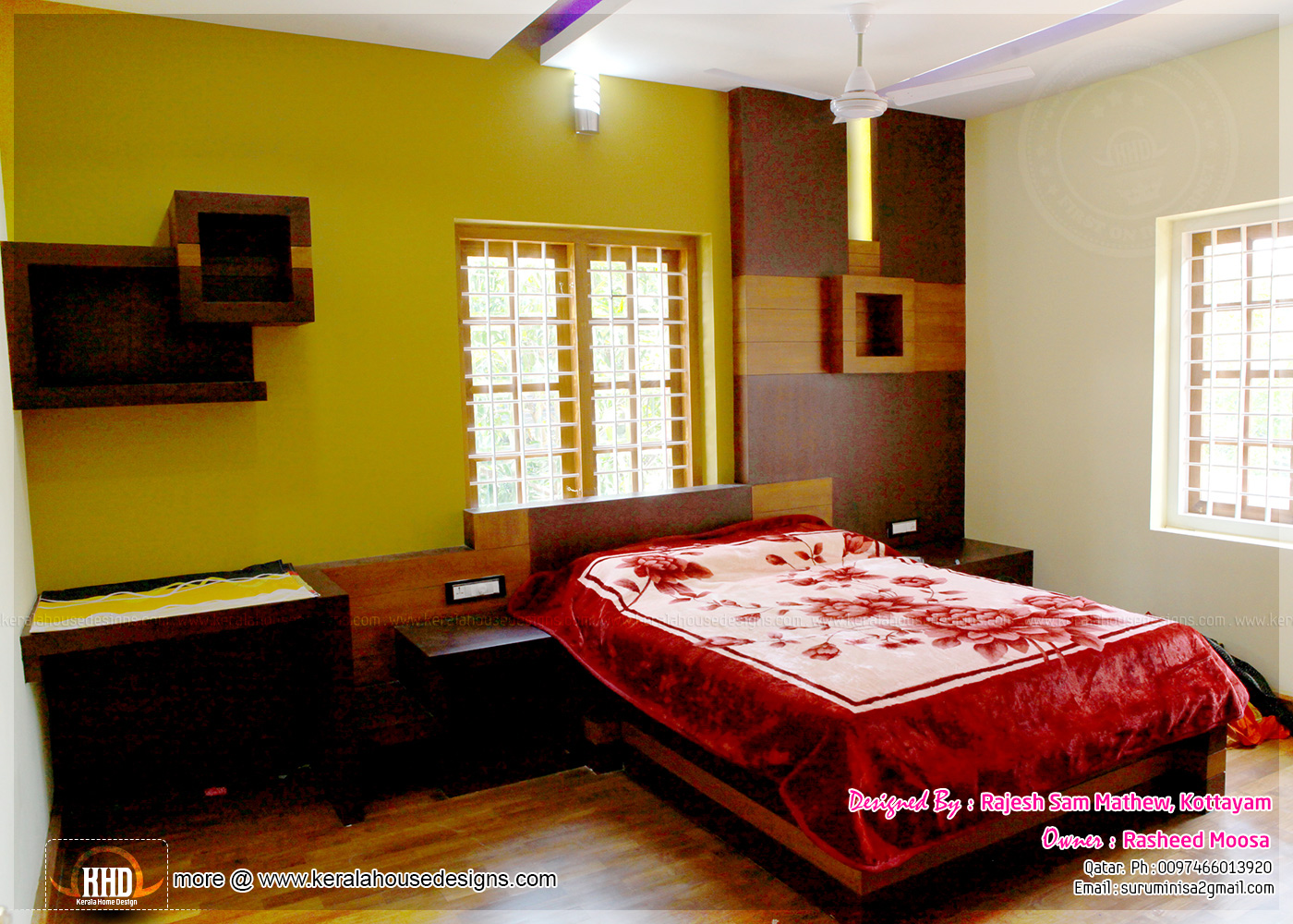 Kerala interior design with photos home kerala plans for Style of bedroom designs