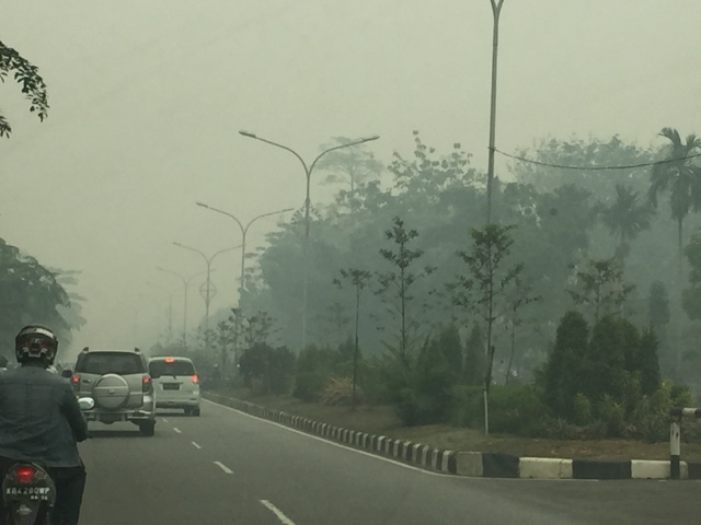 Haze Situation on Ayani II Road, Pontianak, Indonesia September 2015