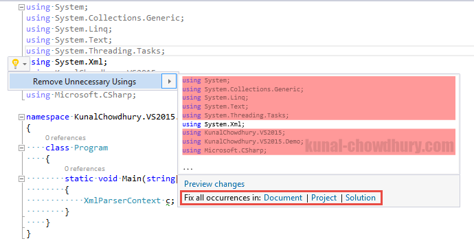 Visual Studio 2015 Tips & Tricks - New way to remove unnecessary using namespaces