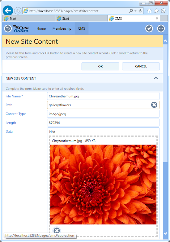 Uploading sample content to integrated CMS of an app created with Code On Time.