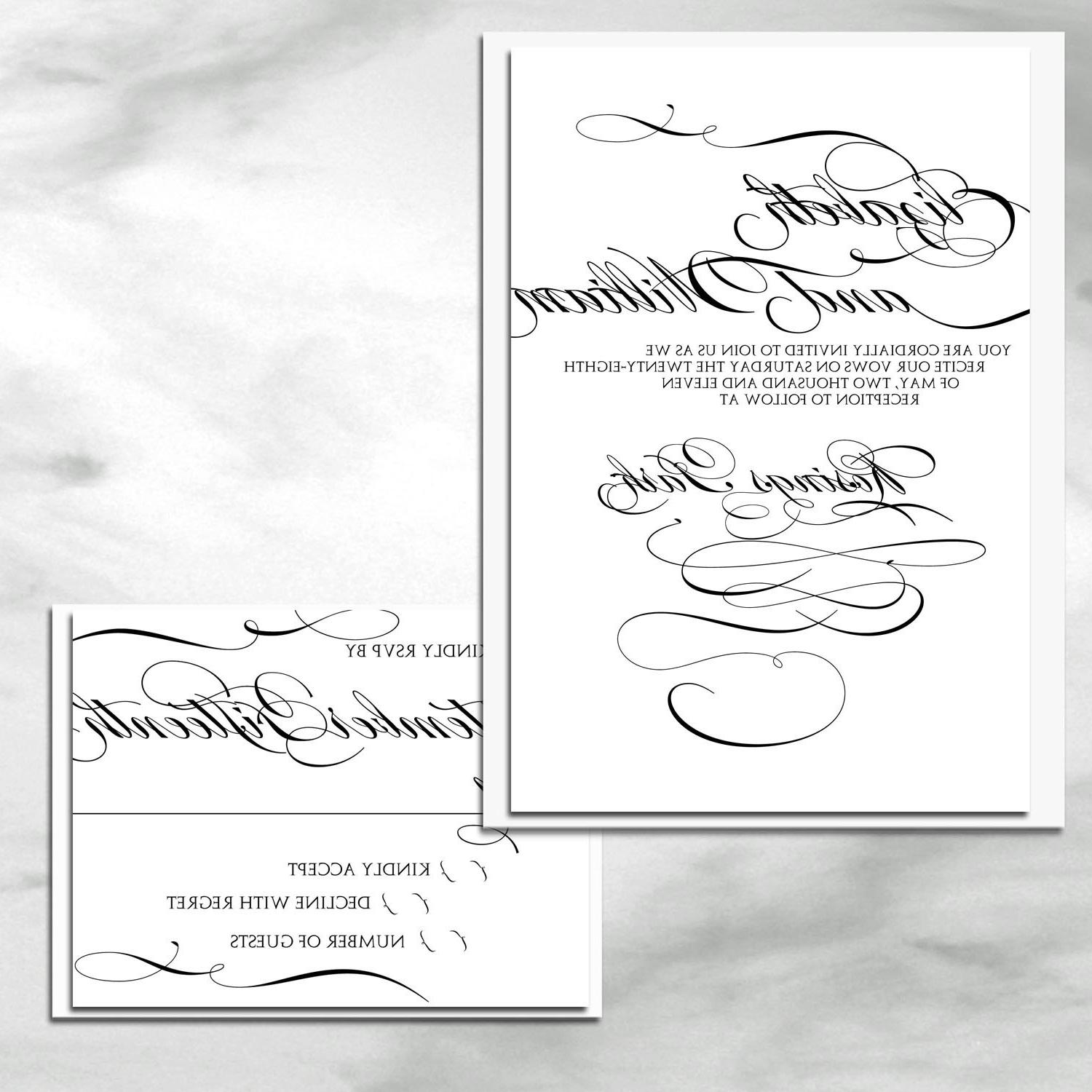 Modern and elegant shimmer calligraphy wedding invitation set