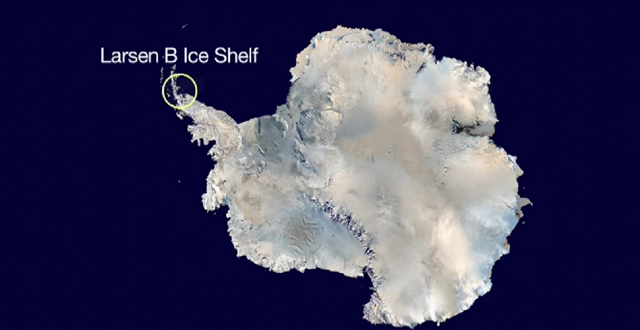 Antarctica, with the Larsen B Ice Shelf labeled. According to a 2015 NASA study, the remains of this ancient structure, which has existed for more than 10,000 years, are likely to disintegrate completely before the year 2020 -- an event that would significantly contribute to global sea level rise. Graphic: IBT US